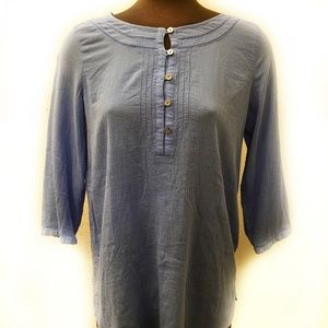 J. Jill 3/4 Length Sleeve Blue Top (S)